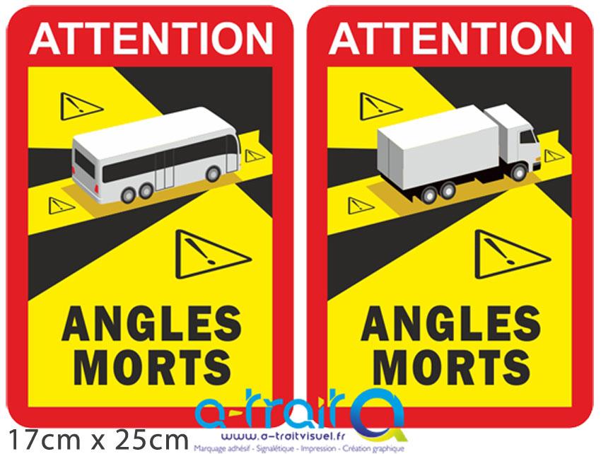 Adhésifs DANGER ANGLES MORTS Poids lourds/Bus